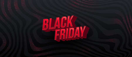 Black friday sale design. 3d red letters on a black abstract striped background. Vector illustration.