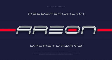 Modern futuristic minimal font. Modern metallic italic typeface. English alphabet. Set of letters. Font set for music, cover, headline, technology, digital, movie design .. Vector illustration.