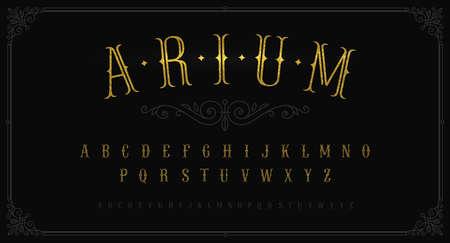 Vintage gold font. Vintage typeface for labels,  headline, advertising, signboard. Latin alphabet in retro style. Old fashioned typeset. Glitter gold letters. Vector illustration. Illustration