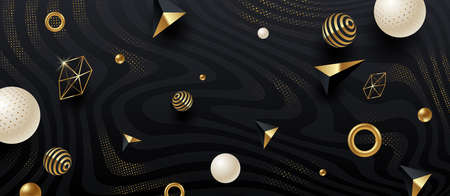 Abstract vector background. Black and golden geometric shape and elements on black abstract striped background with golden halftone. Vector illustration. Illustration