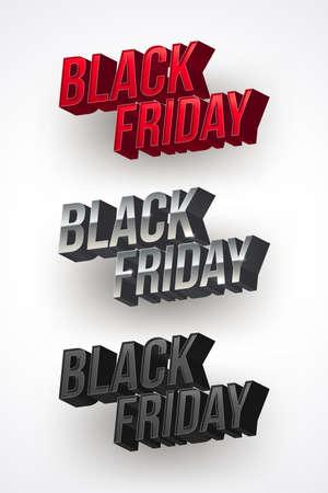 Set of black friday sale 3d sign. Red, metallic and black letters. Black friday advertising headline. Vector illustration.
