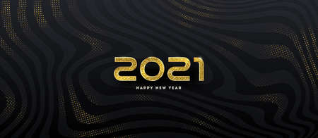 2021 new year. Greeting design with golden number of year on a abstract black striped background with golden halftone. Design for greeting card, invitation, calendar, etc.