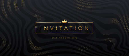 Luxury style template invitation. Golden caption in frame with crown on a abstract black striped background with golden halftone. Design for greeting, invitation, ticket or flyer. Vector illustration.