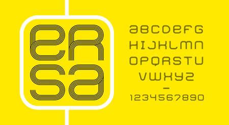 Modern minimal font. Modern line typeface. English alphabet. Set of letters. Font set for logo, music, cover, headline, creative design. Vector illustration. Illustration