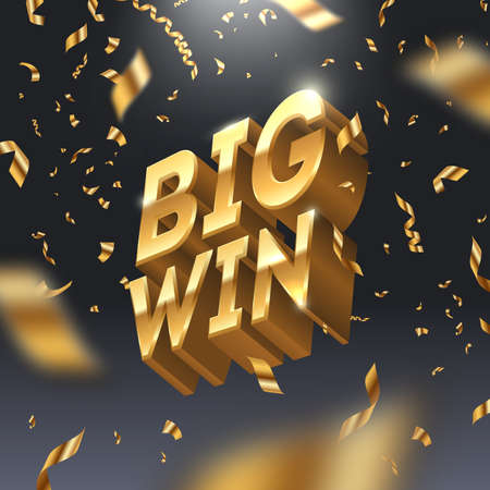 Big win golden sign and golden confetti. 3d big win in spotlight on dark background. Vector illustration. Ilustração