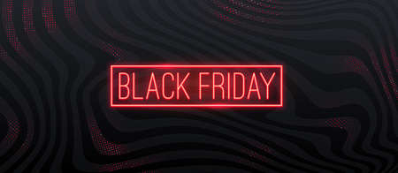 Black friday sale design. Red neon glowing signboard on a black abstract striped background. Vector illustration.