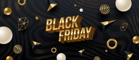 Black friday sale design. Golden metallic 3d letters on a black abstract striped background with golden geometric shapes. Vector illustration.