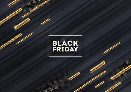 Black friday sale design. Black striped background with abstract golden shapes and golden halftone. Vector illustration. Illustration