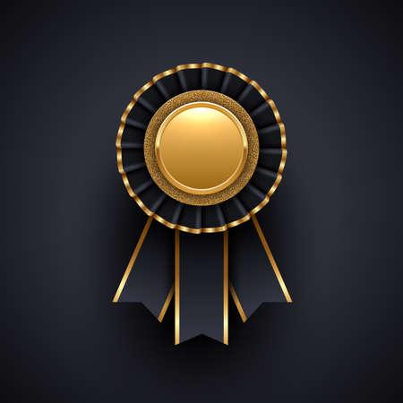 Gold and black award badge with ribbon. Vector illustration. Illustration