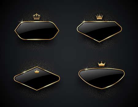 Luxury black glass labels with golden crown and frame on a black background. Premium design. Luxury template design. Vector illustration. Illustration