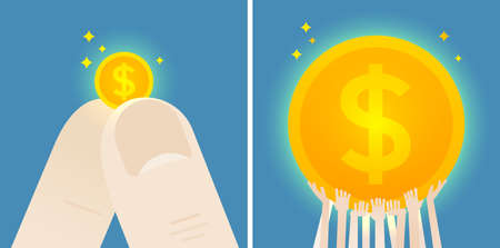 Fingers hold a dollar small coin and crowd is holding a dollar huge coin. Concept illustration. Flat vector design. Illustration