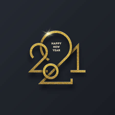 Golden 2021 New Year  . New year glitter gold sign, Holiday greeting card. Vector illustration. Holiday design for greeting card, invitation, calendar, etc.