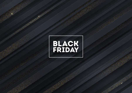 Black friday sale design. Black striped background with golden halftone. Vector illustration. Illustration