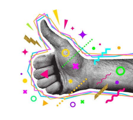 Engraved style thumbs up hand with abstract multicolored shapes. Like gesture hand. Vector illustration.