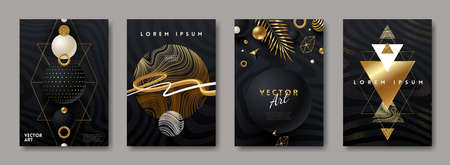 Set of vector abstract cover design with black and gold shapes. Abstract background for poster, greeting card, flyer, invitation, page. Illustration