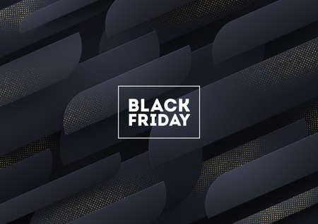 Black friday sale design. Black background with abstract shapes and golden halftone. Vector illustration. Illustration