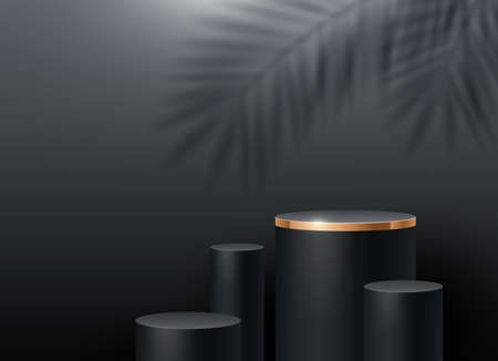 Black cylinder podium for product presentation. Podium stage on a wall background with a palm tree branches shadow. Podium with golden border - minimal scene. Vector illustration. Illustration