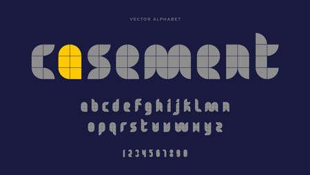 Modern geometric font. Minimal typeface. English alphabet. Set of letters. Font set for logo, music, cover, headline, creative design. Vector illustration.
