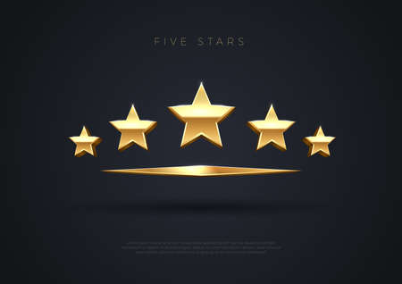 Five golden stars. Top quality concept illustration. Rating stars icon. 3d award stars. Vector.