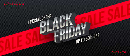 Black friday sale design. Metallic 3d letters on a black striped background with red ribbon. Vector illustration. Design for black friday banner, poster, flyer, promo.