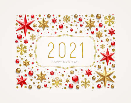 New Year 2021 greeting illustration. Frame made from stars, ruby gems, golden snowflakes, beads and glitter gold. Vector illustration.
