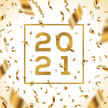 New year 2021 vector illustration. Glitter gold numbers of a year with frame and golden foil confetti.