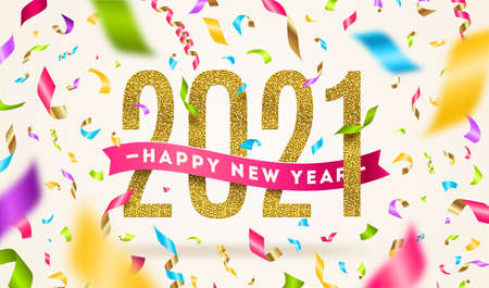 Happy New year 2021 greeting vector illustration. Year numbers with pink ribbon and multicolored confetti on a white background. Çizim