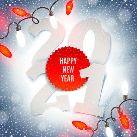 New years 2021 greeting illustration - paper year number and Holiday light garland on a snow.