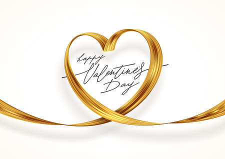 Golden paint brush stroke in the shape of heart. Valentines day greeting card with golden ribbon. Vector illustration. Love symbol - golden heart.