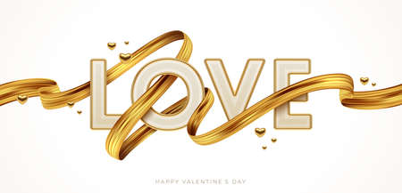 Valentines day greeting illustration. Word Love with golden paint brush stroke. Letters with golden border and ribbon. Vector illustration. Ilustracja