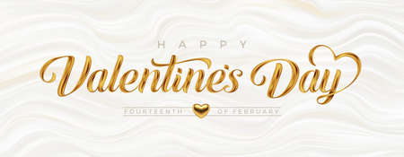 Valentines day greeting card. Lettering calligraphy with golden paint brush strokes on a fluid waves background. Vector illustration. Ilustracja