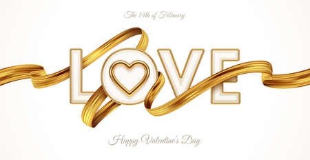 Valentines day greeting illustration. Word Love with realistic golden heart and paint brush stroke. Letters with golden border and ribbon. Vector illustration. Ilustracja