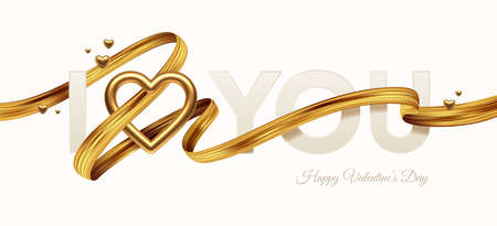 Valentines day greeting illustration. Words I Love You with golden realistic heart and golden paint ribbon. Vector illustration.