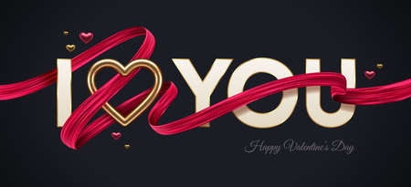 Valentines day greeting illustration. Words I Love You with golden realistic heart and red paint ribbon. Vector illustration.