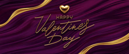 Valentines day vector illustration. Realistic golden metal heart, calligraphic greeting and golden ribbon on purple fluid waves background. Ilustracja