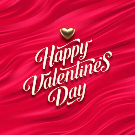 Valentines day calligraphic greeting and golden heart on red fluid waves background. Love symbol - realistic golden metal 3d hearts. Vector illustration. Ilustracja