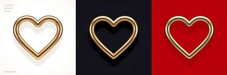 Set of realistic 3d golden metal hearts with reflection from different color background. Decoration elements for Valentines day or wedding design. Love sign and symbol. Vector illustration.