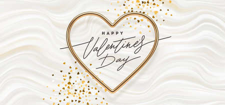 Valentines day vector illustration. Calligraphic greeting in heart shaped golden metallic frame on a white fluid waves background. Love symbol - realistic gold metallic 3d hearts.