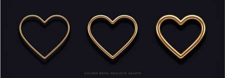 Set of realistic 3d golden metal hearts with different thicknesses and reflection from black background. Decoration elements for Valentines day or wedding design. Love sign and symbol. Vector illustration.
