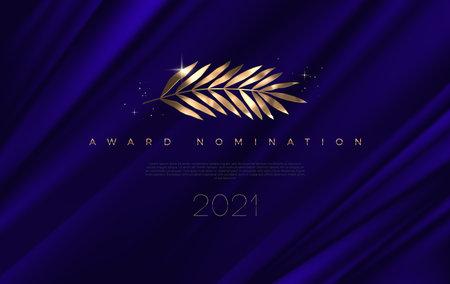 Award nomination - design template. Golden branch on a deep blue cloth background. Award sign with golden leaves. Vector illustration.