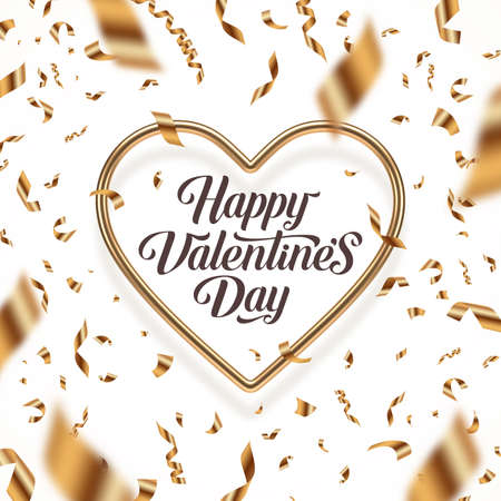 Valentines day vector illustration. Calligraphic greeting in heart shaped golden frame and golden confetti. Love symbol - realistic golden metal 3d hearts.