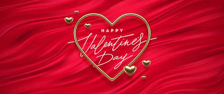 Valentines day calligraphic greeting in heart shaped golden frame on a red fluid waves background. Love symbol - realistic golden metal 3d hearts. Vector illustration. Ilustracja
