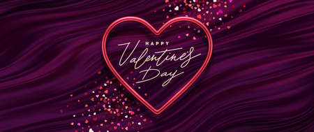 Valentines day vector illustration. Calligraphic greeting in heart shaped metallic frame on a purple fluid waves background. Love symbol - realistic red metallic 3d hearts. Ilustracja