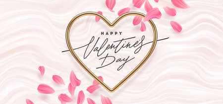 Valentines day vector illustration. Calligraphic greeting in heart shaped metallic frame and flower petals on a pink fluid waves background. Love symbol - realistic golden metallic 3d hearts.