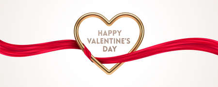 Happy Valentines Day greeting card. Golden metal realistic 3d heart and red ribbon. Vector design with love symbol.