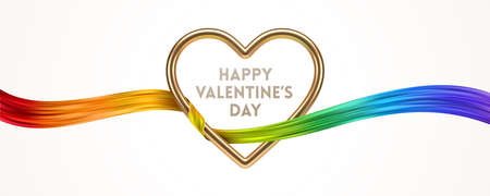 Happy Valentines Day greeting card. Golden metal realistic 3d heart and rainbow ribbon. Vector design with love symbol. Ilustracja