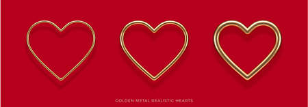 Set of realistic 3d golden metal hearts with different thicknesses and reflection from red background. Decoration elements for Valentines day or wedding design. Love sign and symbol. Vector illustration.