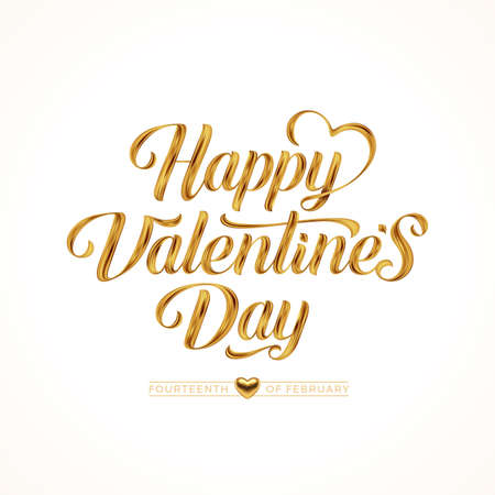 Valentines day greeting card. Lettering calligraphy with golden paint brush strokes. Vector illustration.