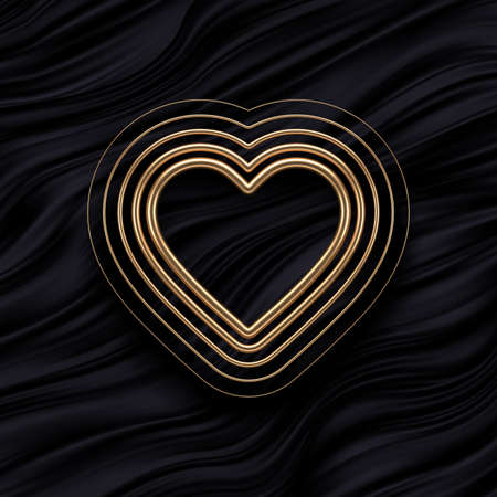 Realistic 3d golden metal hearts with different thicknesses on black fluid waves background. Decoration elements for Valentines day or wedding design. Love sign and symbol. Vector illustration.