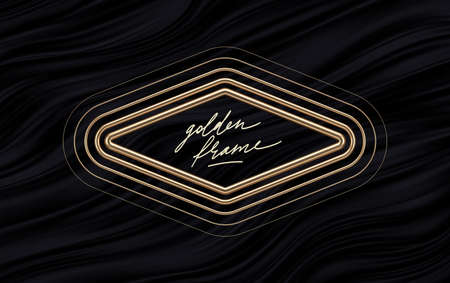 Realistic golden metal rhombus frame on black fluid waves background. 3d golden rhombuses - decoration elements for greeting card, cover, poster or invitation. Vector illustration.